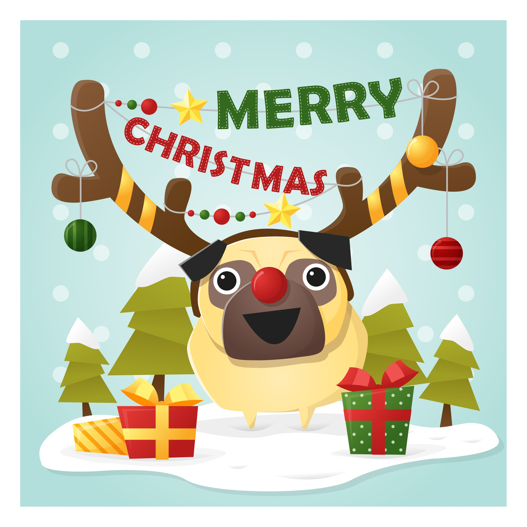 Merry Christmas Greeting Card with dog
