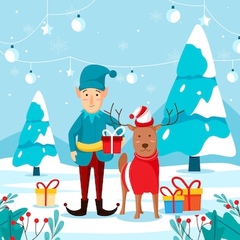 Рождественская открытка с гномами и оленями