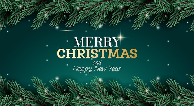 Merry christmas greeting card with fir branch and neon lights