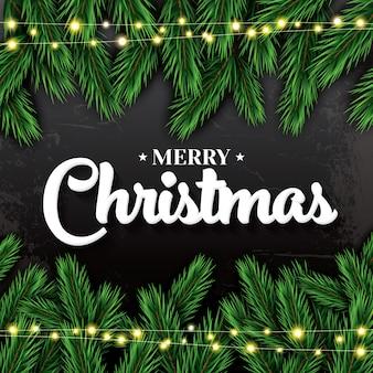 メリークリスマス。モミの枝とネオンガーランドのグリーティングカード。
