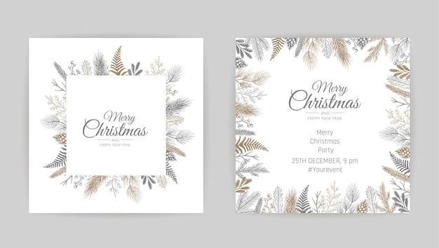 花飾りのメリークリスマスグリーティングカード