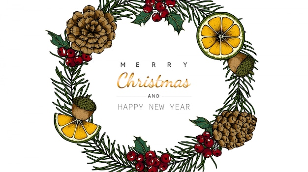 Merry christmas greeting card with flower and leaf