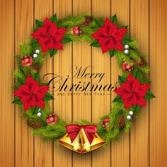 メリークリスマスグリーティングカードと花