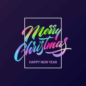 Merry christmas greeting card with fluid lettering