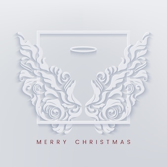Merry christmas greeting card with frame and white angel wings