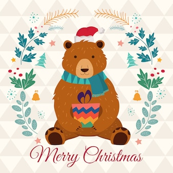 Merry christmas greeting card with funny bear.