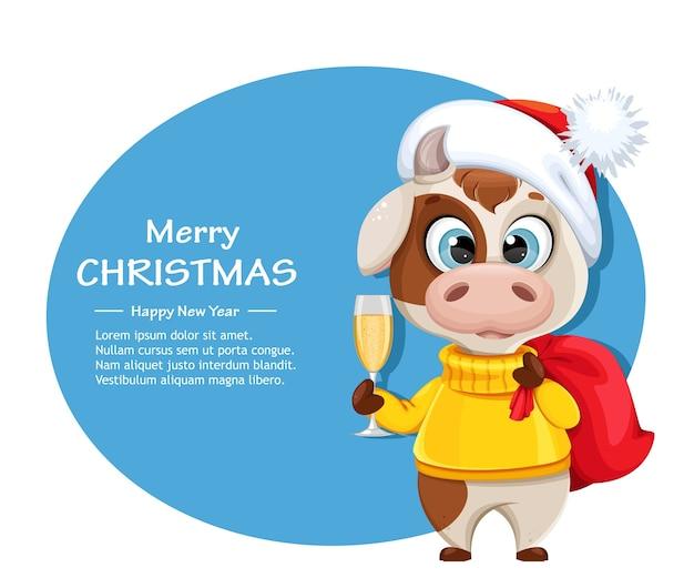 Веселая рождественская открытка с забавным быком