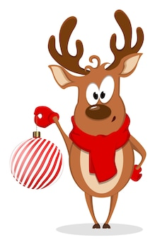 Merry christmas greeting card with funny reindeer