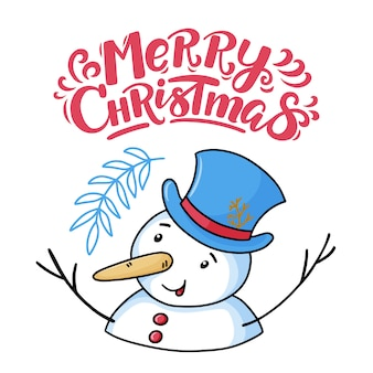 Merry christmas greeting card with funny snowman