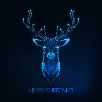 Merry christmas greeting card with futuristic glowing low poly deer head on dark blue