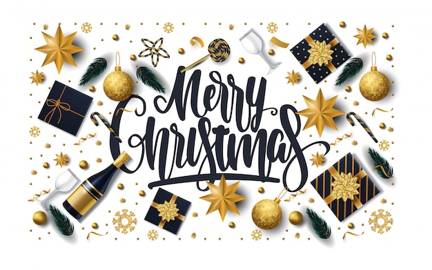 Merry christmas greeting card with gift boxes, stars, champagne