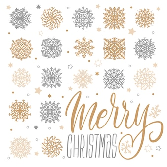 Merry christmas greeting card with gold and silver snowflakes