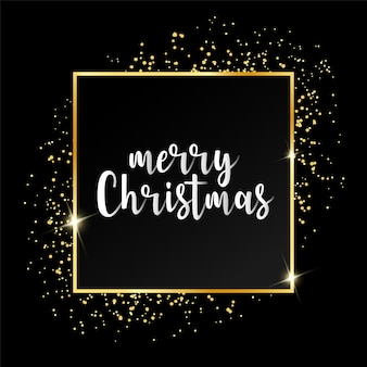 Merry christmas greeting card with golden frame