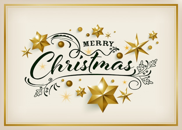 Merry christmas greeting card with golden star background