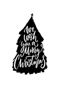 Merry christmas greeting card with hand drawn christmas tree and inscription, modern calligraphy.
