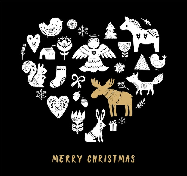 Merry christmas greeting card with hand drawn scandinavian, nordic style illustrations