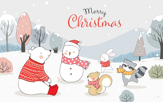 Merry christmas greeting card with happy animals playing in snow for winter