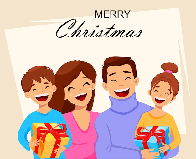 Merry christmas greeting card with happy family