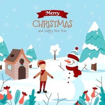 幸せな子供と雪だるまとメリークリスマスのグリーティングカード
