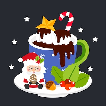 Merry christmas greeting card with hot chocolate.