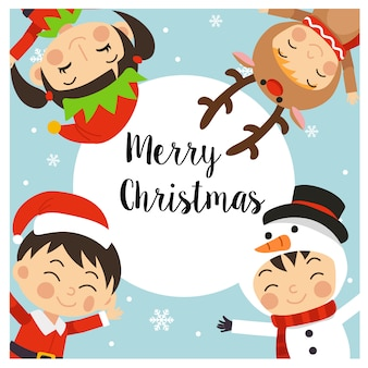 Merry christmas greeting card with kids in christmas costumes