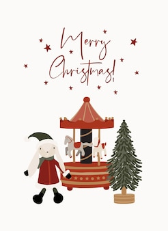 Merry christmas greeting card with kids stuff