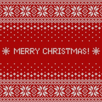 Merry christmas greeting card with knitted textured. sweater pattern.