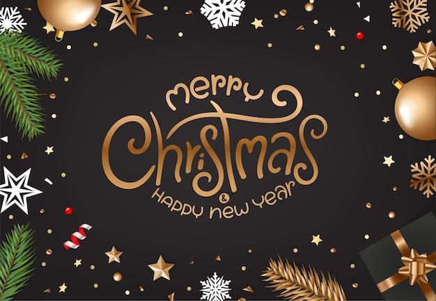 レタリングの碑文とメリークリスマスのグリーティングカード