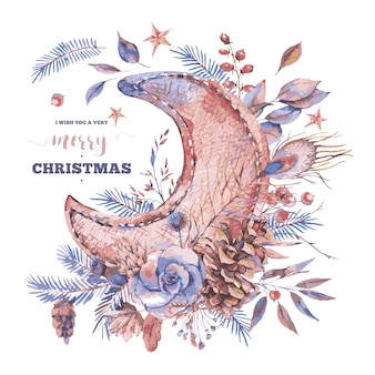 Merry christmas greeting card with moon, roses, spruce branches