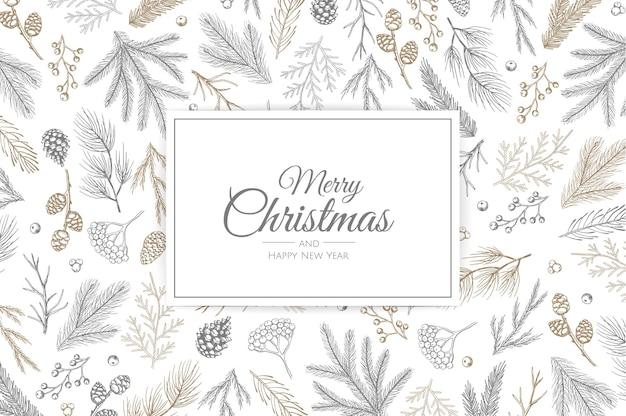 新年のツリーとメリークリスマスのグリーティングカード。手描きのデザインイラスト。