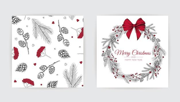 新年のツリーとメリークリスマスのグリーティングカード。手描きデザインベクトルイラスト。