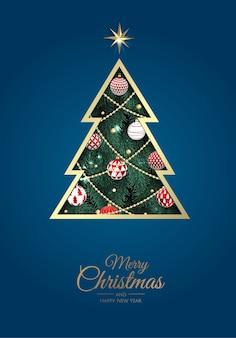 新年のツリーとメリークリスマスのグリーティングカード。
