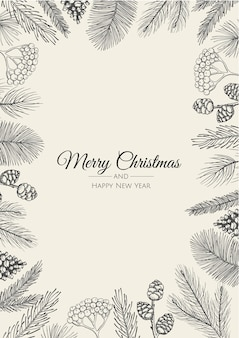 Merry christmas greeting card with new years tree.