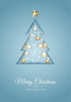 새로운 년 나무와 메리 크리스마스 인사말 카드입니다.
