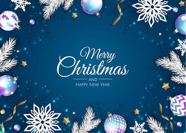新年のツリーとメリークリスマスのグリーティングカード