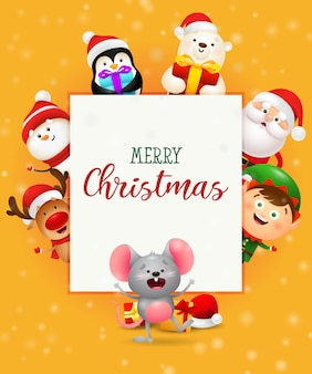 Merry christmas greeting card with nice characters