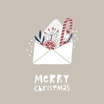 열린 봉투와 함께 메리 크리스마스 인사말 카드입니다. 손으로 그린 디자인 요소 가지와 열매.
