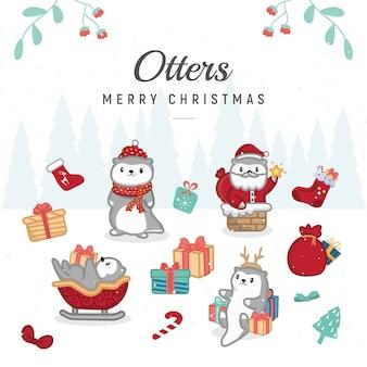 수달 테마 메리 크리스마스 인사말 카드