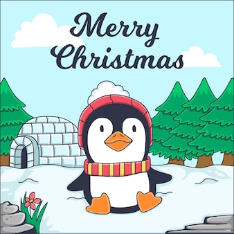Merry christmas greeting card with penguin illustration