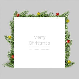 Merry christmas greeting card with pine branches and christmas balls on gray background