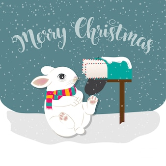Merry christmas greeting card with rabbit and post