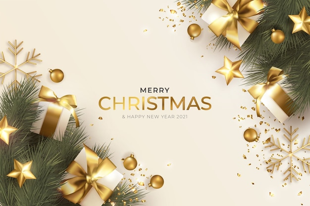 Merry christmas greeting card with realistic christmas decoration