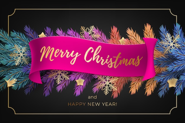 Merry christmas greeting card with a realistic colorful garland of pine tree branches