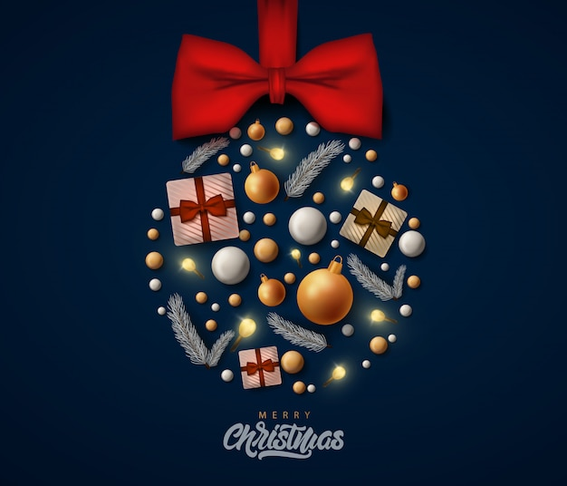 Merry christmas greeting card with realistic decorations, balls and gifts