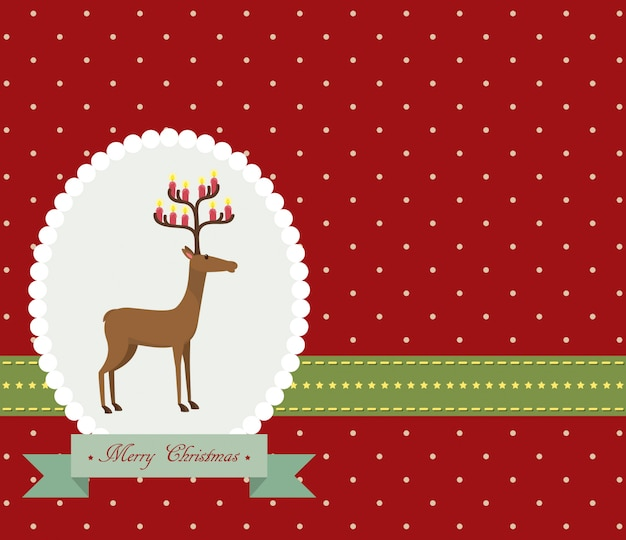 Merry christmas greeting card with reindeer