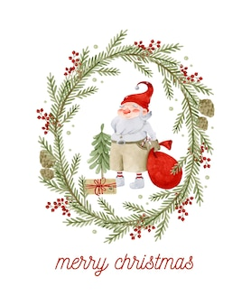 Merry christmas greeting card with rustic frame and santa claus watercolor template