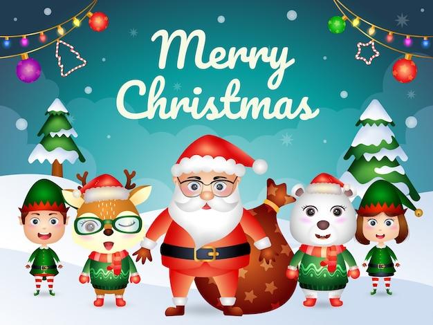 サンタと友達のキャラクターとメリークリスマスのグリーティングカード