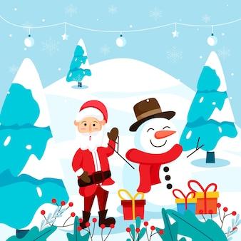 サンタクロースと雪だるまとメリークリスマスグリーティングカード