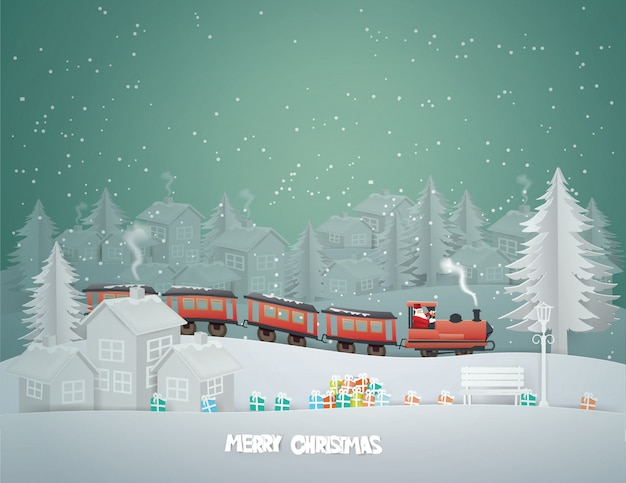 Merry christmas greeting card with santa claus driving train through to urban countryside city in winter season.