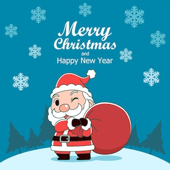 Merry christmas greeting card with santa claus holding bag